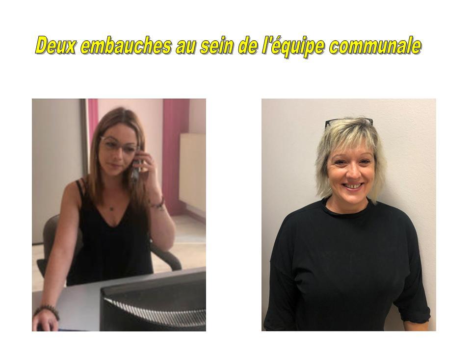 DEUX EMBAUCHES EN SEPTEMBRE 2020 AU SEIN DE L'EQUIPE COMMUNALE