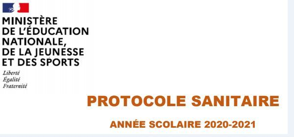 PROTOCOLE SANITAIRE ECOLES NOVEMBRE 2020