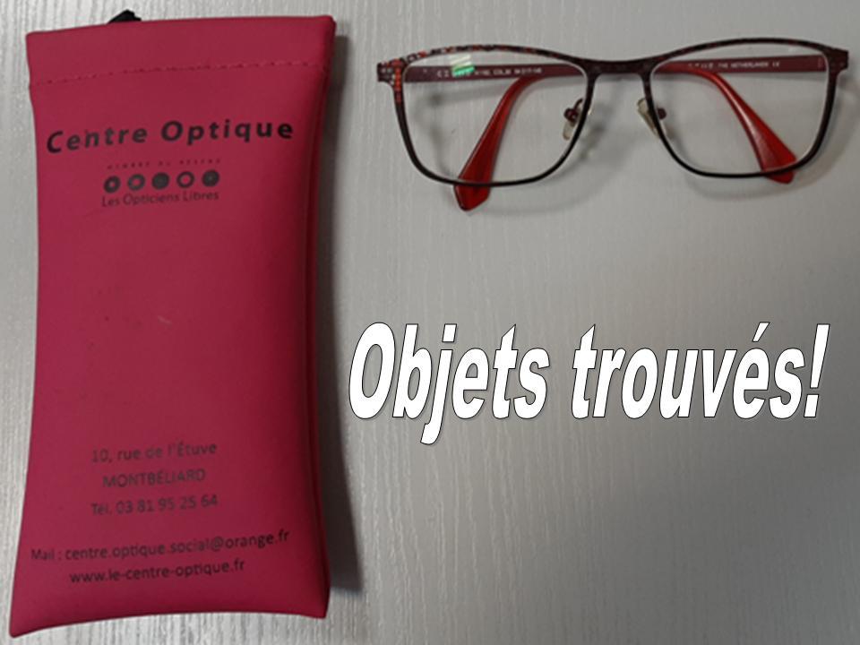OBJETS TROUVES : UNE PAIRE DE LUNETTES