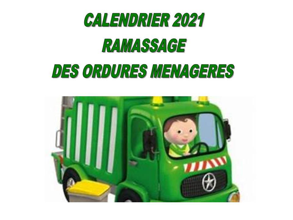 CALENDRIER 2021 DES ORDURES MÉNAGÈRES
